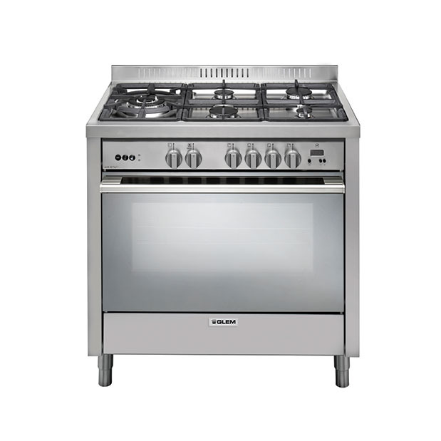90cm Stainless steel cooker with fan assisted gas oven.
