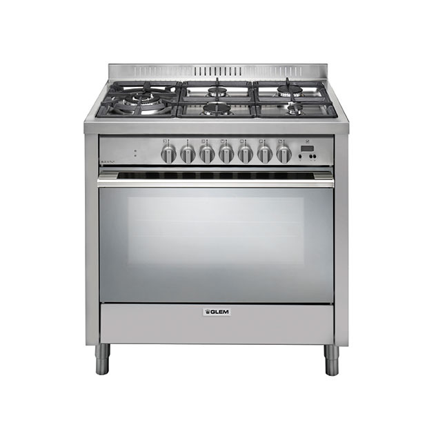 90cm Stainless Steel cooker with a multifunction electric oven and 5 burner gas cooktop