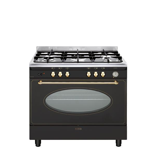 Cuisinière rustique gaz catalyse 90 x 60 cm noire/inox - GU960CMR2