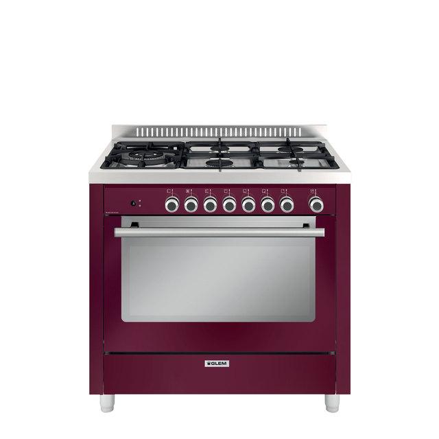 Cuisinière mixte catalyse 90 x 60 cm rouge rubis