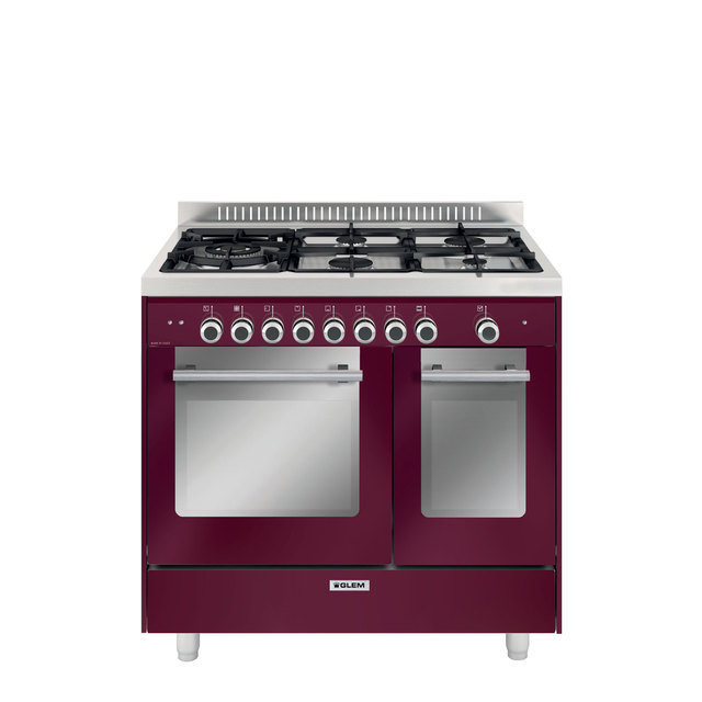 Piano de cuisson double four rouge