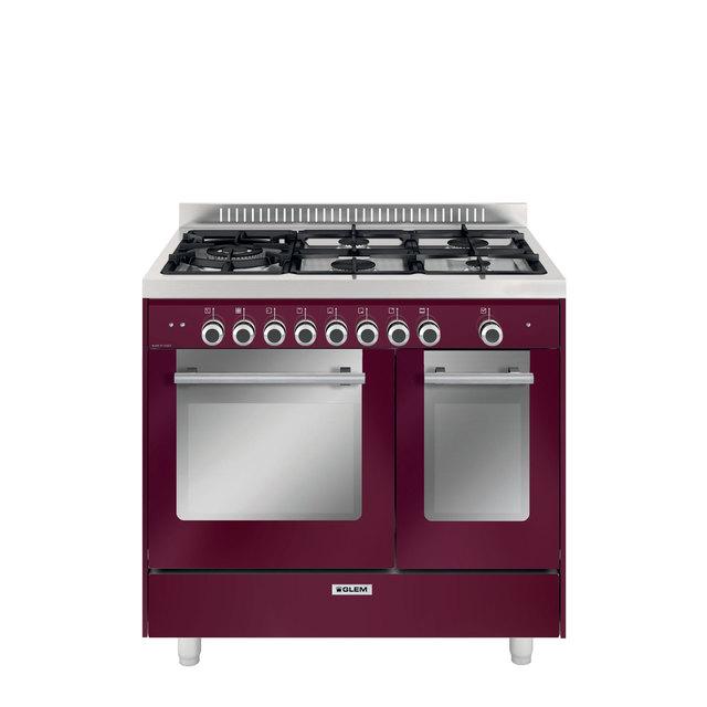 Cuisinière double four mixte catalyse 90 x 60 cm rouge rubis