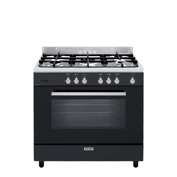 Cuisinière gaz catalyse 90 x 60 cm noire/inox